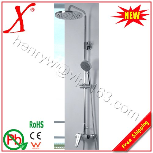Retail- Brass Shower Kits, Wall Mounted, Chrome Finish, Free Shipping L15167(China (Mainland))