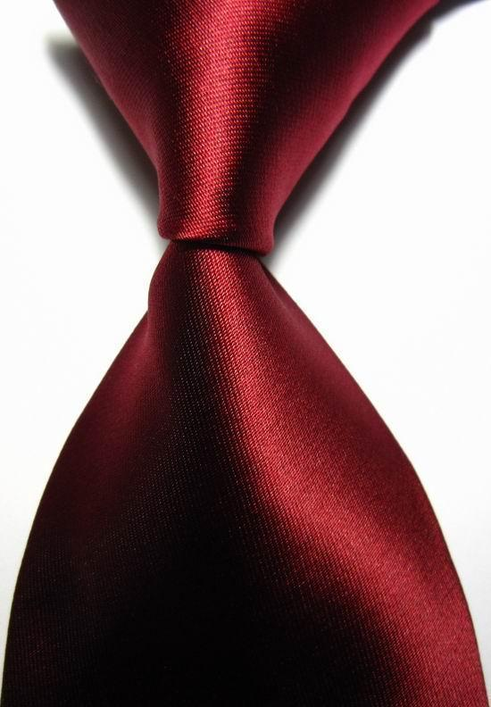 NT0412 Pure Dark Red Luxury Solid Plain Mans Silk Polyester Tie Jacquard Woven Classic Business Party