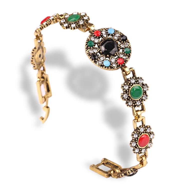 Indian Bangles 2015 New Design Vintage Fashion Jewelry 18 K Gold Crystal Mosaic Colorful Resin Bracelets For Women(China (Mainland))