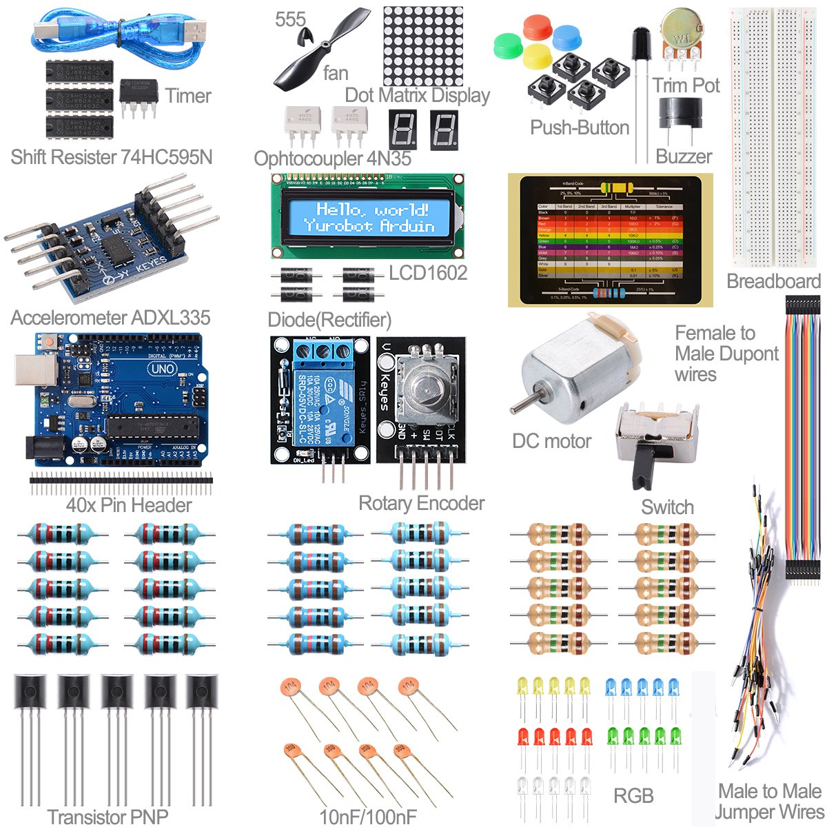 Basic Starter Kit Set UNO R3 Microcontroller Educator LCD 1602 For Arduino TE267(China (Mainland))
