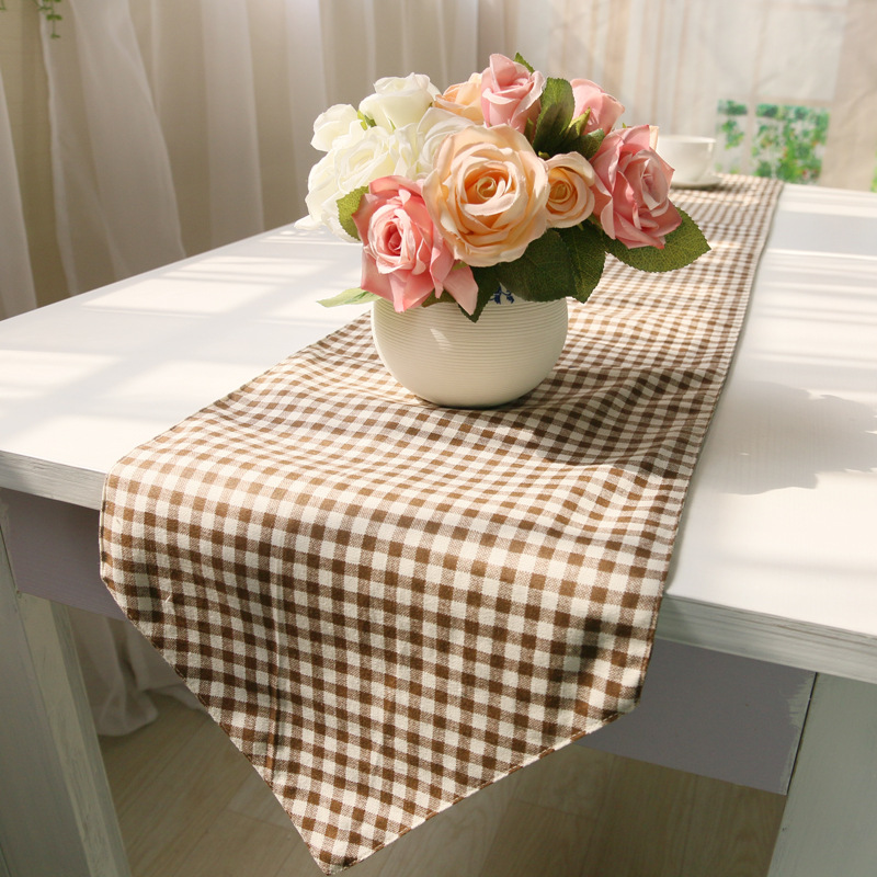 chemin de table Plaid tale runners Red,Brown Colors burlap table runner wedding Table runner for home,hotel Printed 30*180cm(China (Mainland))