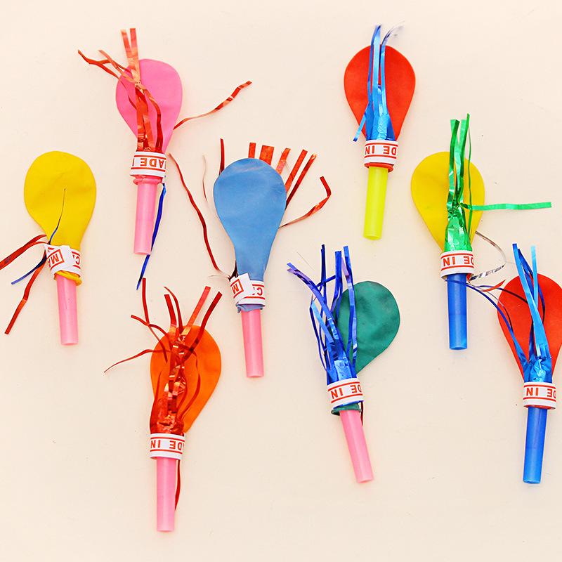 10pcs whistle balloon birthday party balloons with whistle balloons toys will be called balloon clown props(China (Mainland))