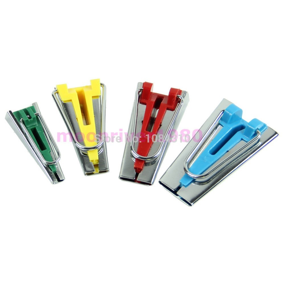 new Set of 4 Size Fabric Bias Tape Maker Tool 6mm 12mm 18mm 25mm Sewing Quilting(China (Mainland))