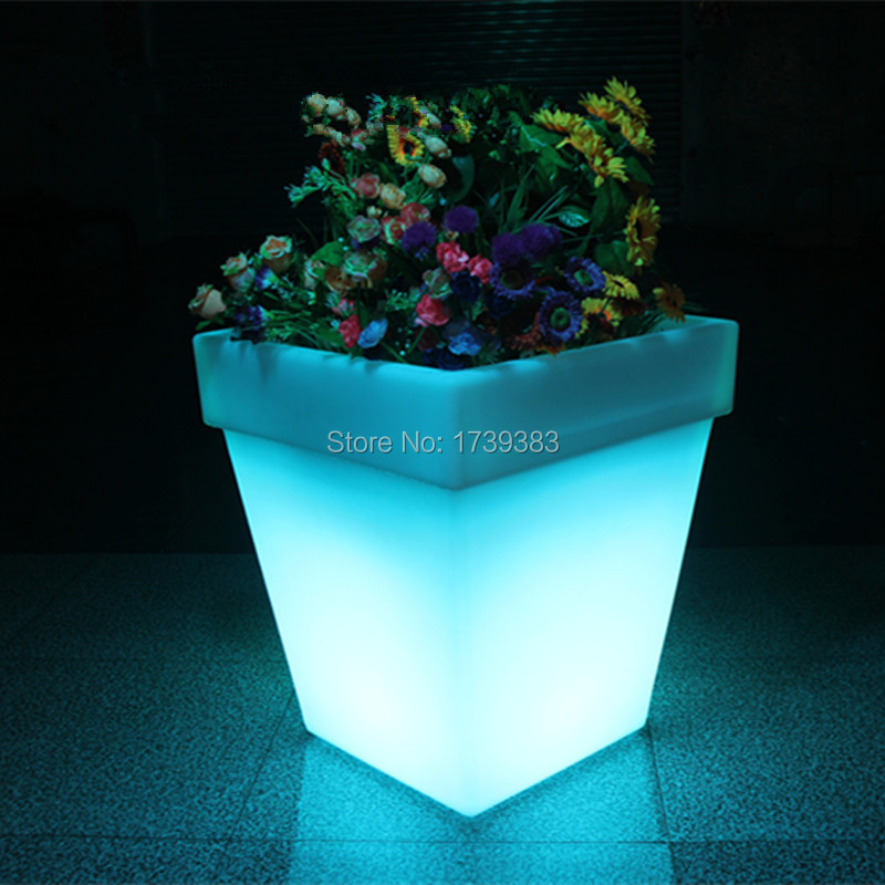 Free Shipping LED Light Flowerpot Colors Changeable Luminous flash flower pot tray VASO Vase LIGHT indoor Outdoor(China (Mainland))