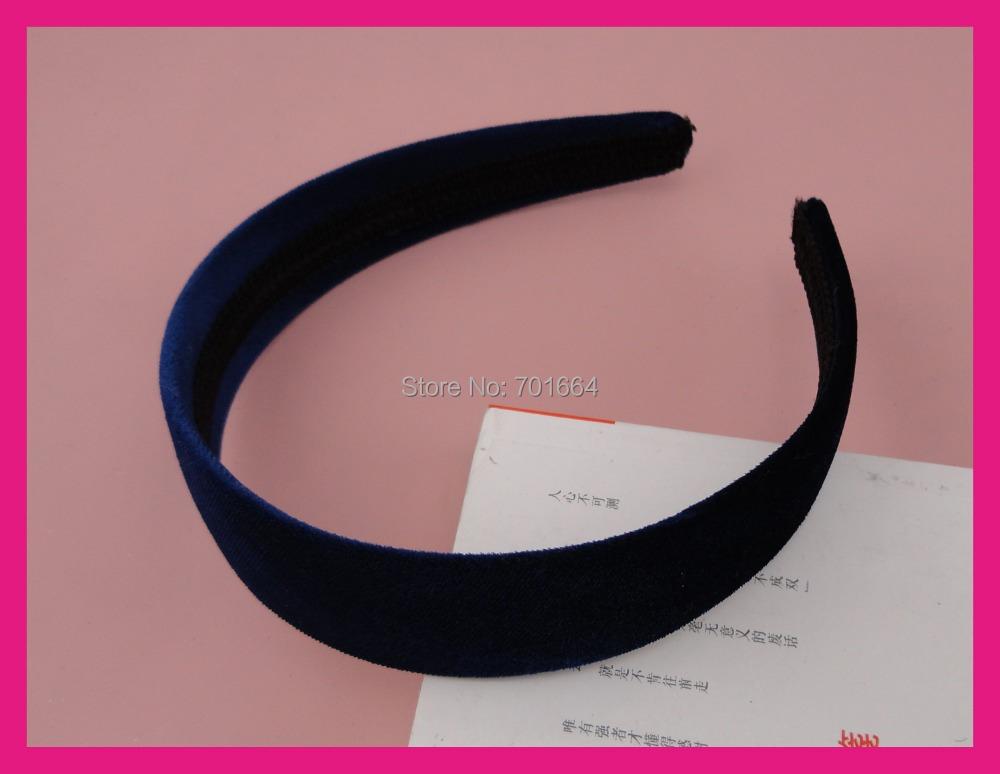 10PCS 30mm Navy Velvet fabric covered plain plastic hair headbands at free shipping,BARGAIN for BULK(China (Mainland))