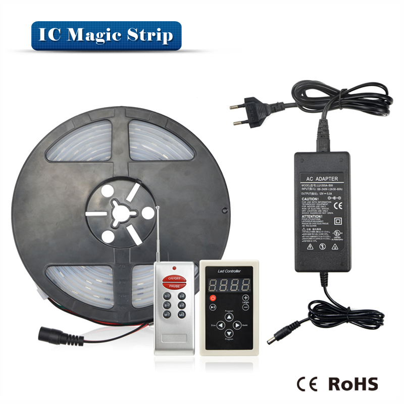 5M 12V Addressable 1903 IC Control Dream Magic Color RGB 5050 SMD LED Pixels digital Strip light IP67 Waterproof + 5A Adapter(China (Mainland))