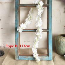 120 см длинный искусственный цветок глицинии лоза шёлковая Гортензия ротанга Сделай Сам Свадьба День Рождения украшения стены фон цветы(China)