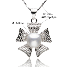 Flower-shaped 925 Sterling Silver Pearl Pendant Necklaces 7-8mm White Natural Freshwater Pearls Women's Pearl Jewelry