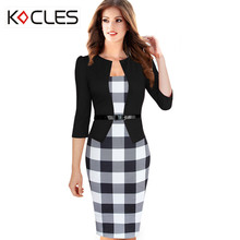 Women Elegant Faux Twinset Tartan Floral Polka Dot Patchwork Belted 3/4 Sleeve Work Business Office Fitted Bodycon Pencil Dress