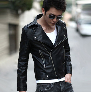 2014 men's spring clothing top teenage oblique zipper motorcycle PU jacket thin outerwear - Boshi Electronic Technology Co., Ltd. store