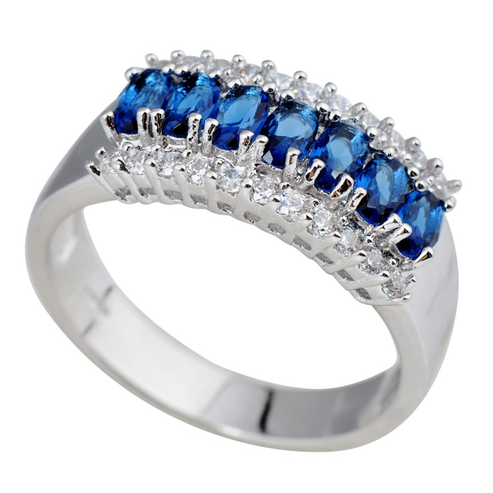 Fashion Jewellery Sea Blue Gem Natural Sapphire Lady's 10KT White Gold Filled Wedding Party Engagement Ring(China (Mainland))