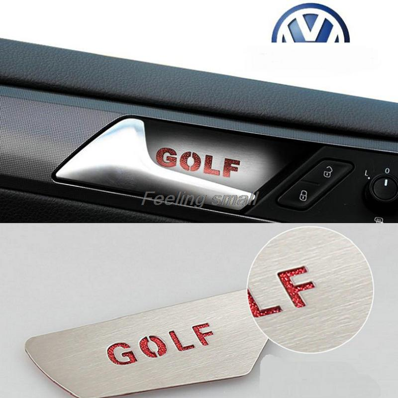 NEW car styling Special stainless steel bowl stickers inside the door for Volkswagen Golf 7 MK7 4pcs/lot(China (Mainland))