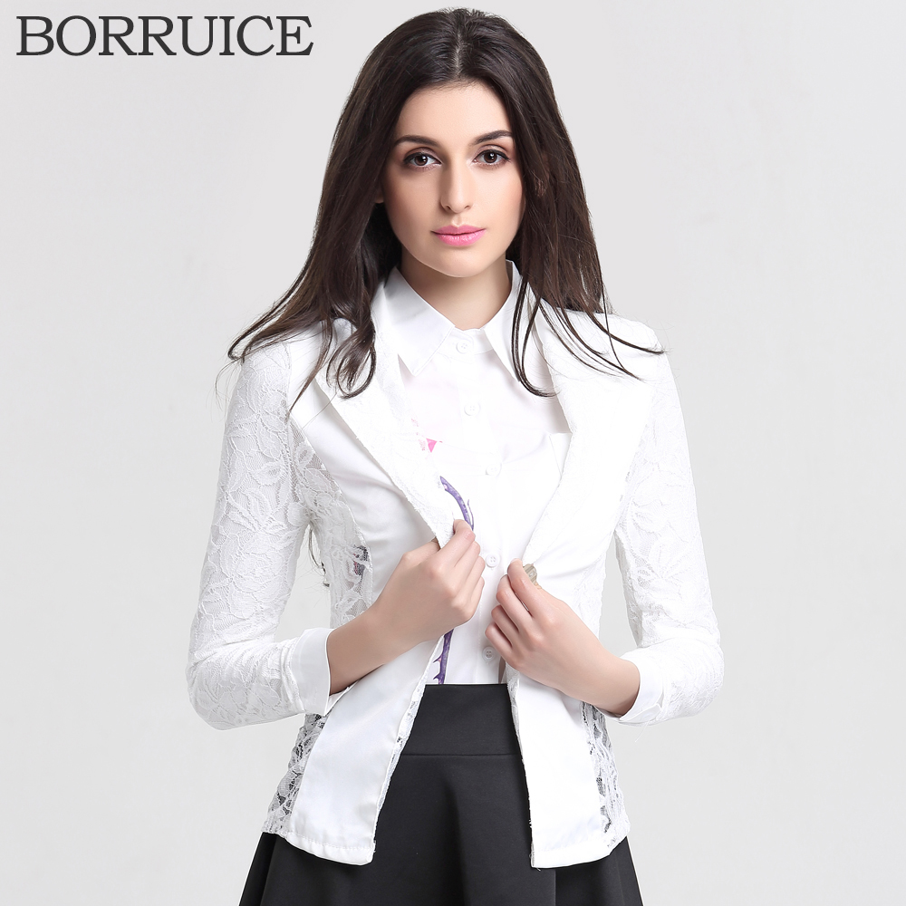 BORRUICE Women Blazers And Jackets New 2016 Fashion Casual Spring Jacket Plus Size Lace Splice White Small Suit Blazer Women(China (Mainland))