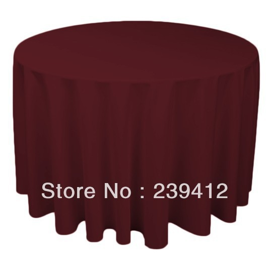 """120"""" Round Burgundy e Polyester Plain Table Cloth for Weddings Events &Banquet &Party Decoration(China (Mainland))"""