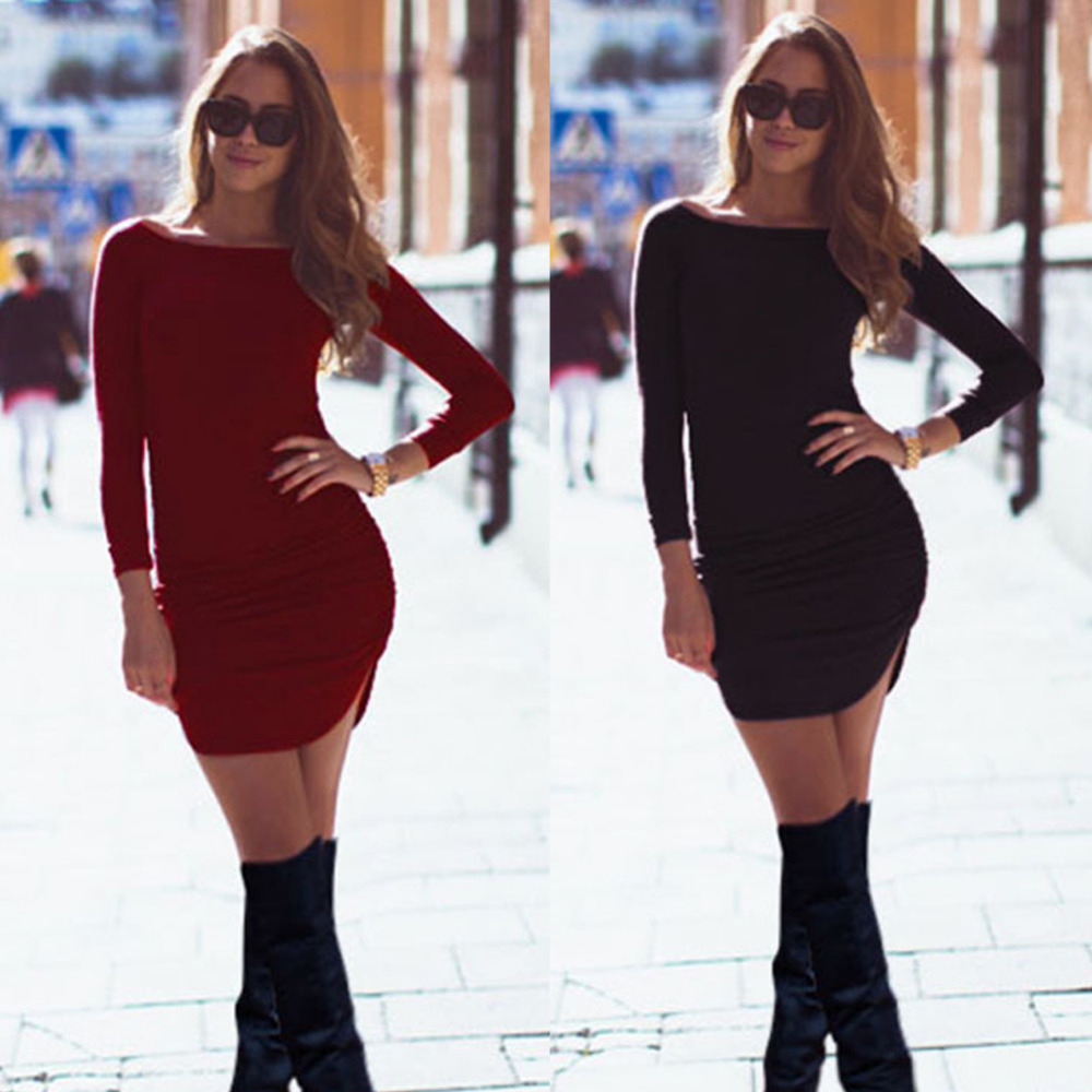 Fashion Womens Bodycon Mini Dress Autumn Rounded Edges Arc Stitching Package Hip Sheath Dresses Long Sleeve Women Lady Vestidos
