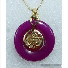 Wholesale price 16new ^^^^Purple Jade 18KGP Chinese Fortune Letter Love Luck Pendant & Necklace(China (Mainland))