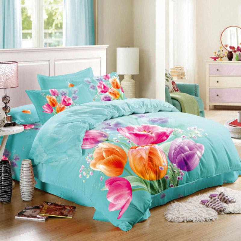 Pink orange purple tulips 3d floral bedding set queen size - Orange and purple bedding ...