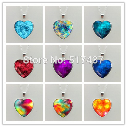 New Glass Dome Necklace Blue/Rainbow/Colorful/Purple/Red heart necklace Art Photo Glass Pendant silver heart shaped necklaces(China (Mainland))
