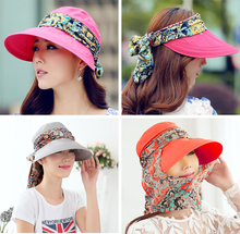 2015 New Arrival Face Protection Summer Hats For Women Foldable Anti-UV Sun  Hat  Wide Big Brim Adjustable  Women Hats Summer(China (Mainland))
