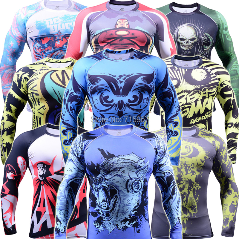 Brand New Men`s Skin Compression Tight Long Sleeves Gym Training Bodybuilding Top MMA Fitness Base Layer Running Tights(China (Mainland))