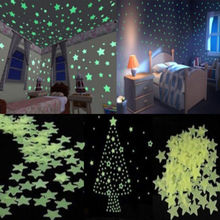 New 100 Pcs Lots Wall Sticker Art For Kids Rooms Home Decoration Accessories Decor Glow In The Dark Star Decal Baby(China (Mainland))