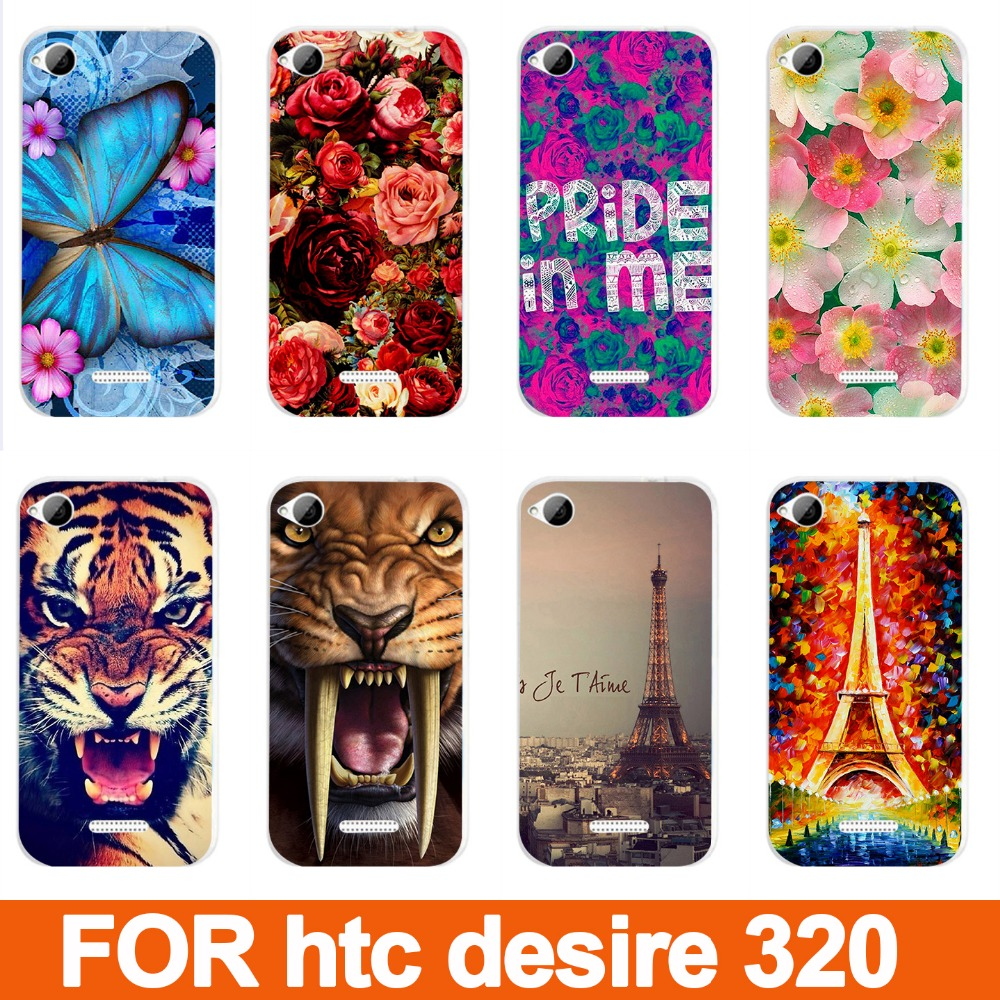 14 patterns colored case cover for desire 320 hard tiger lion cat rose eiffel towers PC painting case for htc desire 320(China (Mainland))