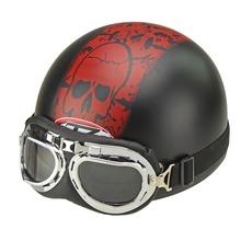2015 Hot Goggles Motorcycle Half Face Motorcycle Racing Helmet Motorbike Black Skull Helmet(China (Mainland))