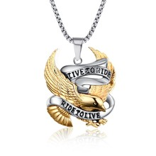 Fashion Eagle Necklace Pendants LIVE TO RIDE Biker Sport Men Gold Plated Stainless Steel Hero Jewelry(China (Mainland))