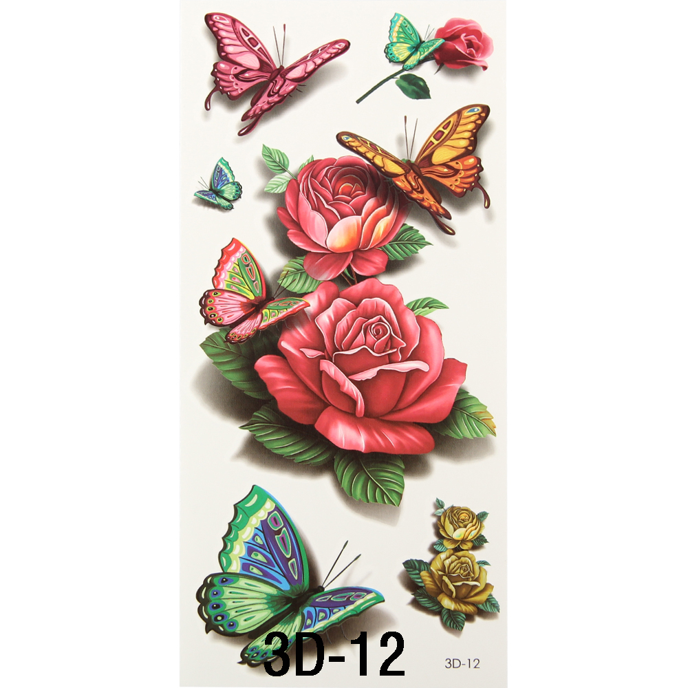 1Pc 3D Body Art Chest Sleeve Stickers Glitter Temporary Flash Tattoos Removal Fake Small Rose Butterfly Design For Body Painting(China (Mainland))