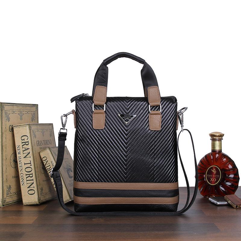 new 2016 high quality men handbags genuine leather messenger bags men's travel bags Metal zipper business shoulder bags for men(China (Mainland))