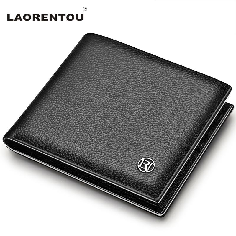Laorentou 100% Genuine Leather Wallet Men Short Wallet Vintage Cow Leather Casual Men Wallet Purse Standard Brand Wallets N52(China (Mainland))