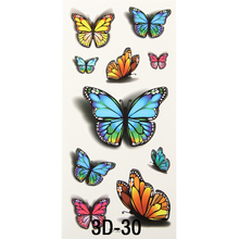 1x Inspire Colorful 3D Sticker On Body Art Chest Shoulder Stickers Glitter Temporary Flash Tattoos Removal Fake Butterfly Style