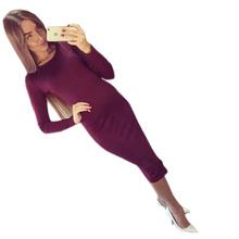Buy 2017 Long Sleeve Knee Length Midi Dress Slim Bodycon Bandage Autumn Black Wine Red Women Dresses Bandage Vestidos Q0001 Limited) for $8.36 in AliExpress store