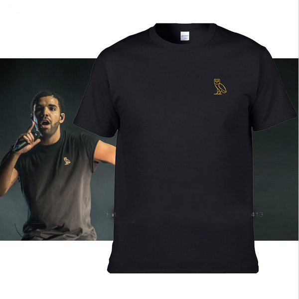 Drake Men T Shirt OVO Owl Ovoxo Gold T shirts Man Cotton Tops Tee Mens Views Summer Fashion Brand Clothing hip hop funny t-shirt(China (Mainland))
