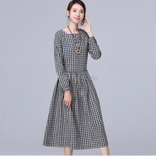 dresses . Spring new models Women / Girls College Wind retro loose cotton long-sleeved plaid dress / autumn dress(China (Mainland))
