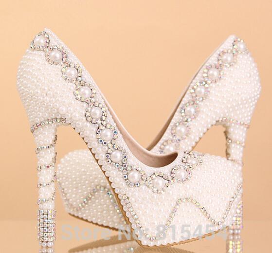 2015 Genuine Leather Luxury Pearl rhinestone bridal shoes white high heels wedding shoes 14 cm high heel pumps(China (Mainland))
