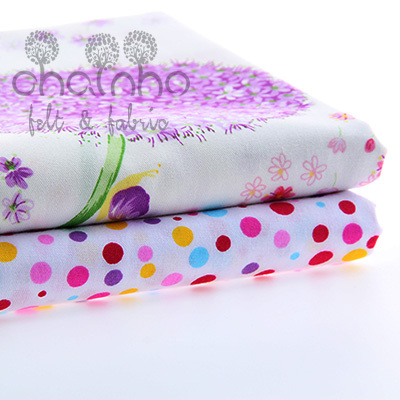 Cotton Fabric Patchwork For Sewing DIY Handmade Hometextile Cloth For Dress Sheet Dandelions And purple Colored