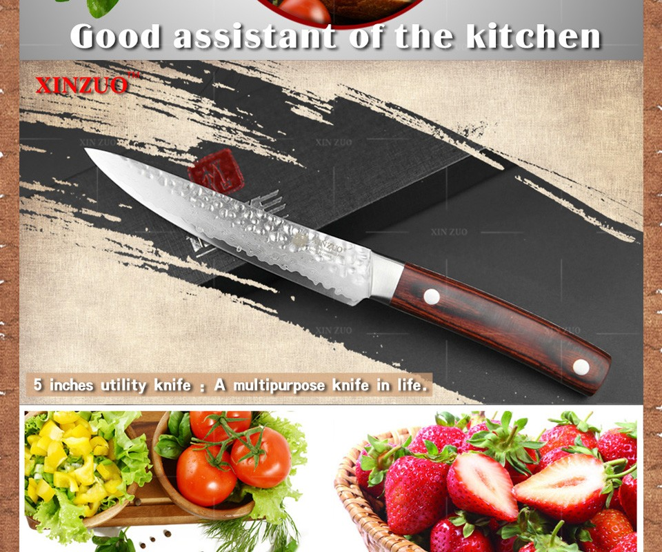 "Buy XINZUO NEW 5"" Multi-purpose knife Damascus kitchen knives utility cutter kitchen tool damascus steel utility knife FREE SHIPPING cheap"