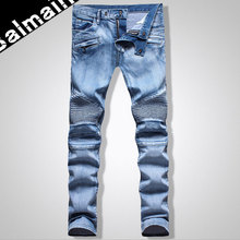Spring Summer Style Fashion Men Jeans High Quality Famous Brand BLM Denim Biker Jeans 100% Cotton Printed Jeans Casual Pants