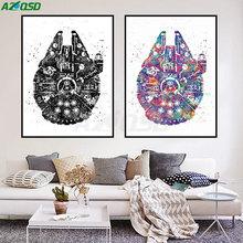 AZQSD Watercolor Star Wars Ship Pop Movie Art Prints Poster Abstract Canvas Painting No Frame Living Room Decor PP063(China (Mainland))
