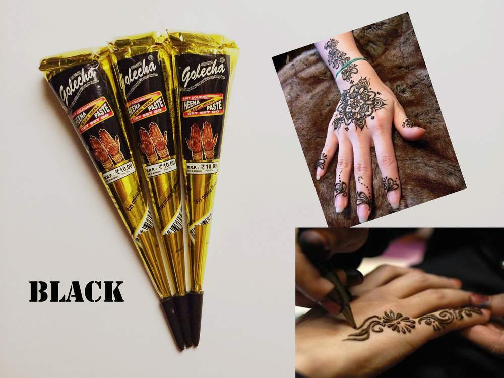 3pcs lot black Henna Temporary tatoo india tattoo tube for body Paste Cone Body Art painting