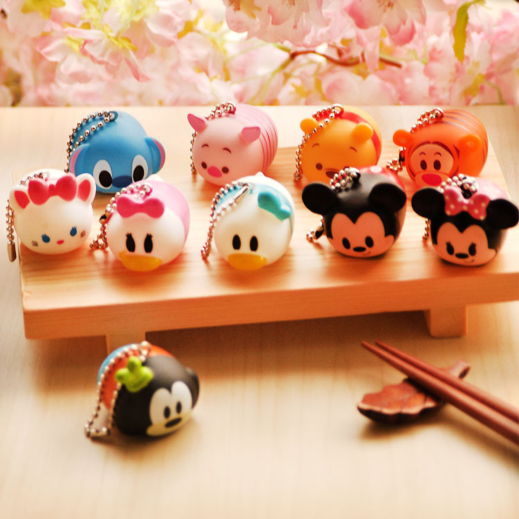 Cute Mini Winnie Mickey Mouse Stitch Plastic Toy Vinyl Toy Sound Production Tsum Tsum Kids Toy 10 pieces A lot(China (Mainland))