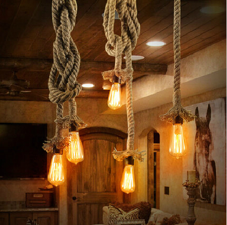Vintage Loft Rope DIY rope Pendant Light Lamp Handmake Industrial Creative Edison Bulb Lamps American Style For Home Bar Deco(China (Mainland))