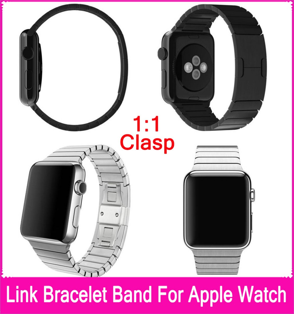4 Colors High Quality Link Bracelet For Apple Watch Band 42mm 38mm With 1:1 Original Stainless Steel Buckle And Adapters(China (Mainland))