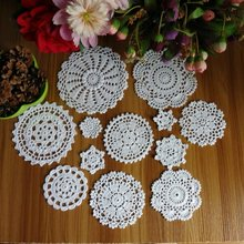 New Design 24Pcs 100% Cotton Hand Made Crochet Doilies Cup Mat Pad Coaster 12 Vintage Crochet Motifs 5-18cm White Beige HD079(China (Mainland))