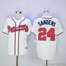 #24 Deion Sanders Braves Jersey White Home Gray Road Navy Blue Red Cream Baseball Jerseys(China (Mainland))