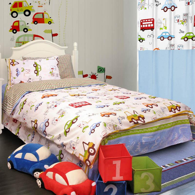 Home Textile Bedding Cartoon Child Baby Boys And Girls Duvet Cover Cotton Car Bed Set Cute