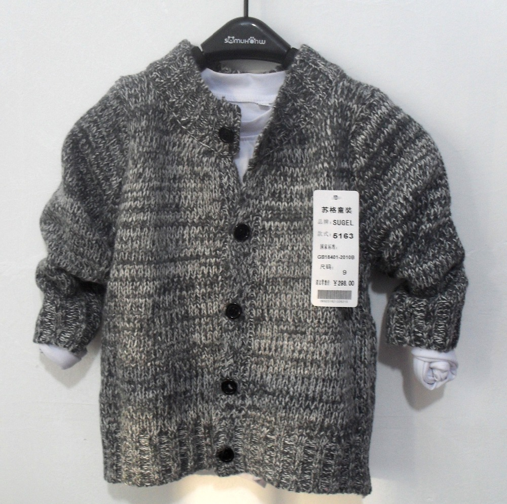 2015 trend kids child clothing baby boy & girls knitted sweaters wool blend fabric boy tops cardigan jacket knitwear coat(China (Mainland))