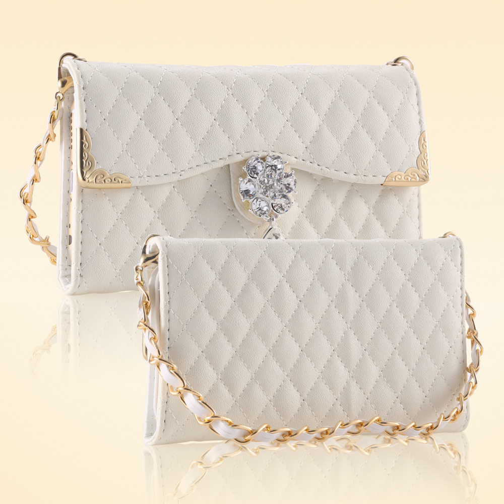 New Luxury Shoulder Bags For iPhone 6 6s /Plus 5.5 Lattice Pattern Elegant Women Wallet Leather Metal Chain Jewelry Phone Case(China (Mainland))