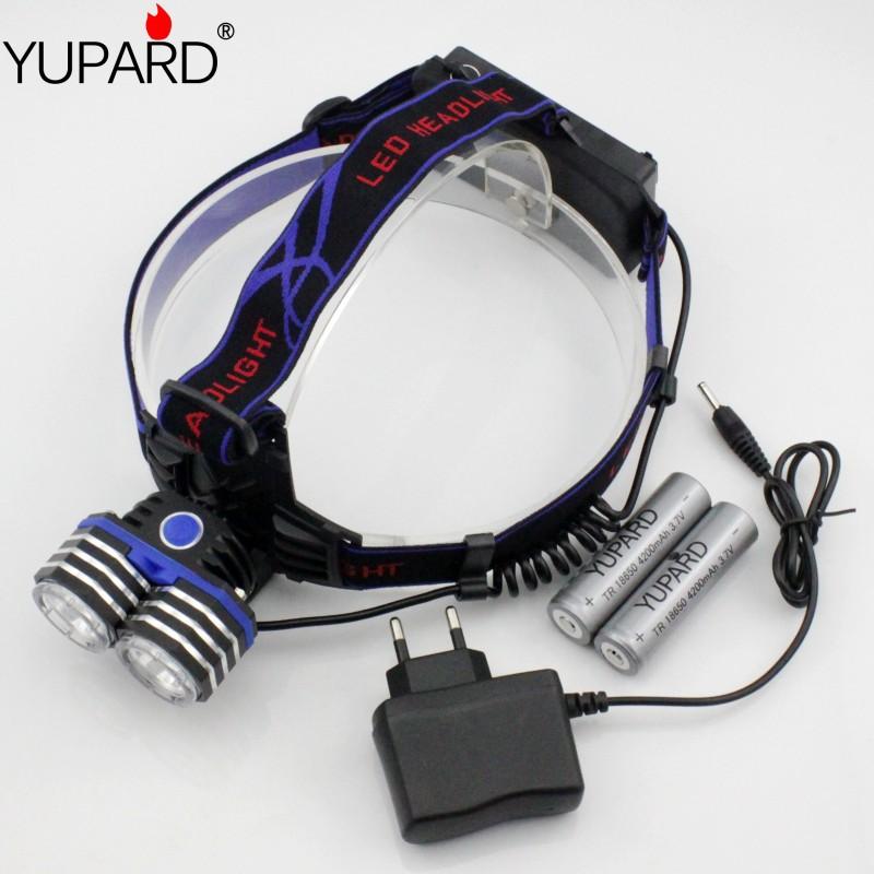 Headlamp 2*Cree XM-L T6 LED 2000LM Outdoor Lighting Head Light  Power Bank USB 3*AAA 3*AA 18650+2*4200 mAh 18650 battery+charger
